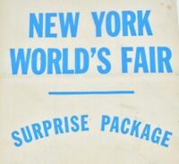 RARE 1939 New York's Worlds Fair Unused Surprise Package White Bag Blue Letters