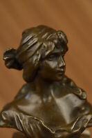 European Made Home Figurine Bust Of A Woman  Bronze Sculpture Marble Base Figure