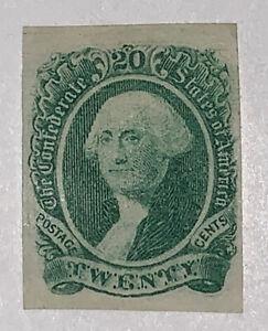 Travelstamps: US CSA Confederate Stamp # 13 Mint No Gum, Washington, 20 cents