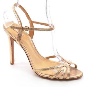 Womens Schutz Dunna Snake Slingback High Heels 10 M Gold Leather Sandals Shoes