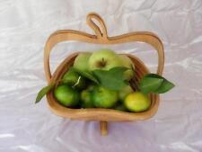 Apple shaped Bamboo fruit basket designed Home Wood Craft Folding Bamboo