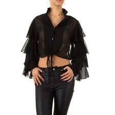 BLACK SEE THROUGH RUFFLE FASHION BLOUSE WITH RUFFLES SIZE 8 BY USCO