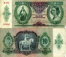 HUNGARY 10 Pengo Banknote World Paper Money VG/Poor Currency Pick p100 1936 Bill
