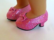 """Pink Glitter High Heels Fits 18"""" American Girl Doll Clothes Shoes"""