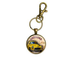 Retro Vintage Car Art Bronze Key Chain Ring Clip Louisiana Fathers Day Gift New