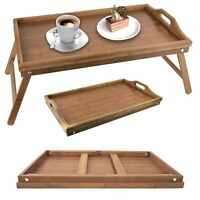 Foldable Wooden Bamboo Food Serving Breakfast in Bed Lap Tray Folding Legs Tradi
