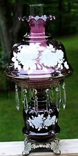 """Vintage Amethyst Swirl GWTW 22"""" Table Lamp with Prisms - Free Shipping!"""