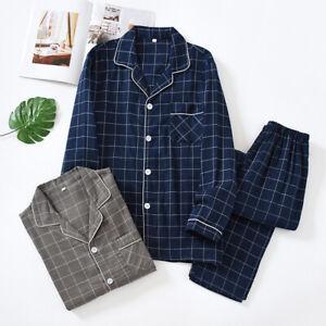 Chinese Japanese Mens Blue Plaid Pajamas Set Cotton Nihghtwear Pyjamas Homewear