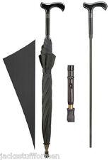 Harvy Derby Handle Handcrafted Black Unisex Umbrella with Hidden Cane Inside