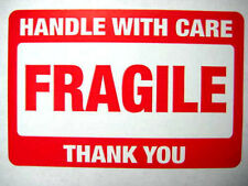 1,000 2 x 3 Fragile Handle with Care Label Stickers.Plus 15 pink smiley labels