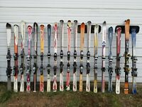Large Lot of 19 Downhill Skis with Bindings