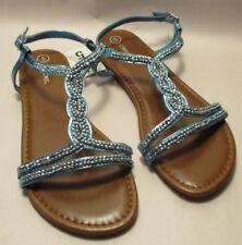 edee56bf95cf New Cherokee Britt Girls Youth sz 5 Blue   Silver Strap Flat Sole Sandals