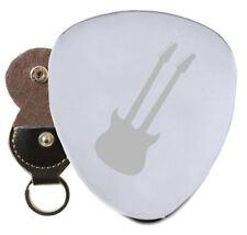 Twelve String Double Neck Steel Guitar Plectrum Pick Engraved in Keyring Holder