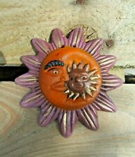 Fair Trade Hand Carved Made Ceramic Sun Moon Barro Style Wall Art Hanging Plaque