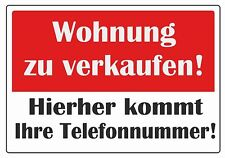 """wetterfestes Schild: """"Wohnung zu verkaufen""""  Größe A1"""