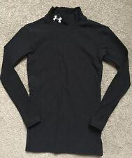 Under Armour Size Youth Medium Black Mock Turtleneck Compression Shirt Vguc