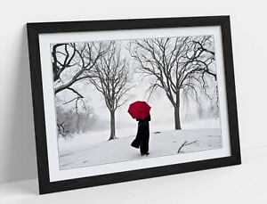 RED UMBRELLA IN SNOW -ART FRAMED POSTER PICTURE PRINT ARTWORK-