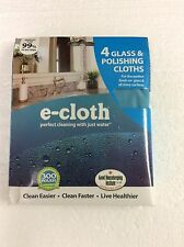 E-Cloth Cleaning Glass & Polishing Cloths 4 Pack e cloth Green Clean New