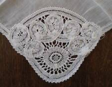 True Vintage Small Battenburg Lace Bridal Hanky Handmade White Tape Lace