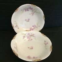 """Warwick China A2002 6 1/2"""" Coupe Bowls Lot Of 2 Blue Pink Flowers Gold Daubs"""