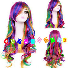Fashion Long Multi Color Rainbow Rock Spring Bouquet wavy Cosplay party Wig