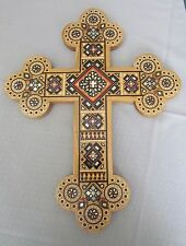 Cherry Wood Cross in Intarsia Design+Inlaid with Glass&Mother of Pearl Beads,18""