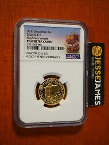 2020 W $10 PROOF GOLD MAYFLOWER VOYAGE NGC PF69 ULTRA CAMEO 1/4 OZ GOLD