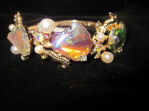 BETSEY JOHNSON SHELLS AND SEA HORSE AND BLING AND FAUX PEARLS HINGED BRACELET