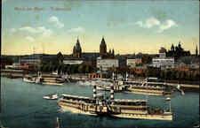 ~1920 Rhein Schiffe Dampfer an der Anlegestelle Mainz mit Totalansicht der Stadt