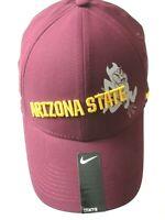 Nike Mens Arizona State Sun Devils Swoosh Flex Dri Fit Hat Maroon Grey L/XL NWT