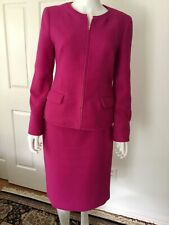 Talbots Pink Long Sleeve Tweed 2 Piece Suit Jacket and Skirt Sz 6