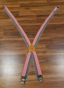 CLC Red White Blue USA Suspenders Vintage 1991 Model No.  110