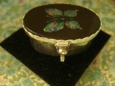 Beautiful Genuine Opal Gemstones Set Butterfly; Sterling Silver Trinket/Pill Box