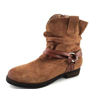 Corso Como 'Seaton' Cognac Suede Slouchy Harness Ankle Boots Womens Size 8.5 M *