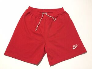 Vintage 90s Nike Red Shorts Swoosh Spell out Gray Tag Just Do It Gym Size Large