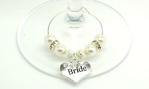 Ivory Pearl Personalised Wedding Family Top Table Party Wine Glass Charms