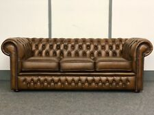 Chesterfield 3 Seater Sofa In Antique Tan Leather (Brand New)