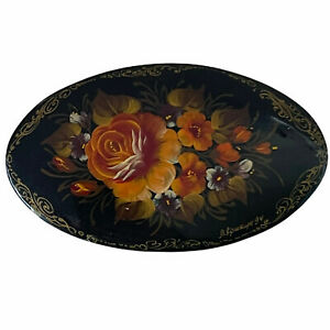Vintage 1994 Russian Hand Painted Floral Orange Flower Gold Edge Lacquer Brooch