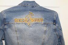 Rocawear Womens Denim Jean Jacket Sz 1X Streetwear Spellout Trucker Coat