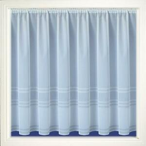 WINDOW PRIVACY WHITE NET CURTAIN WITH SILVER GLITTER STRIPES SOLD BY THE METRE