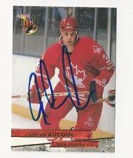 93/94 Ultra Autographed Hockey Card Adrian Aucoin Team Canada