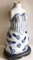 """Vintage Antique White Blue Ceramic Woman Torso Vase 11"""" x  6"""" x 4"""""""