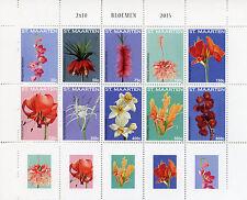 St Maarten 2015 MNH Flowers 10v Block Set Flora Bloemen Stamps