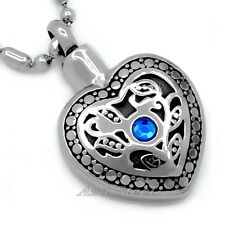 Silver Heart Urn Cremation Stainless Steel Pendant Necklace Keepsake Ash Holder