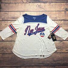 NBA 4Her Womens 2XL Carl Bank New Jersey Nets Retro Hardwood Classic Baseball T
