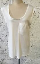 NEW ZARA TRAFALUC WHITE SCOOP NECK TANK VEST TOP TSHIRT LARGE UK 12/14 Z344
