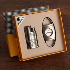 COHIBA Lighter Cutter Set Windproof 4 Torch Cigar Lighters Metal Cigars Cutters