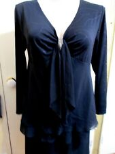 LADIES AUTOGRAPH LONG SLEEVED BLACK TOP  A DIAMANTE CLIP AT THE FRONT SIZE 16