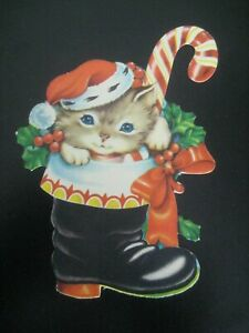 VINTAGE CHRISTMAS INK BLOTTER in the shape of a kitten in a boot DIE CUT