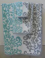 Hotel Vendome 3Pc Bath Towel Set Gray, Aqua & White Medallion Scroll Leaf Design
